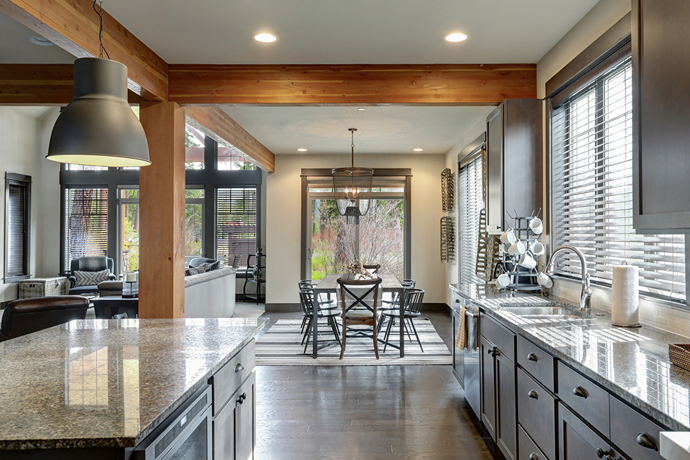 Modern and rustic kitchen interior seen while preforming home inspection