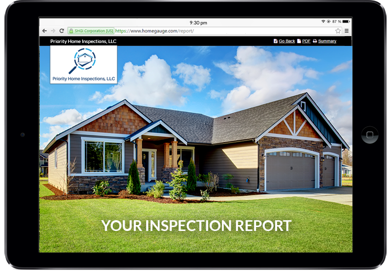 Tablet showing a digital home inspection report